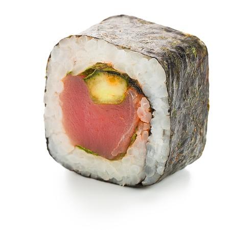 Spicy maguro hosomaki japanese roll stuffed  with tuna Stock Photo