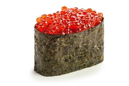 maki: Ikura Gunkan maki sushi stuffed with salmon caviar
