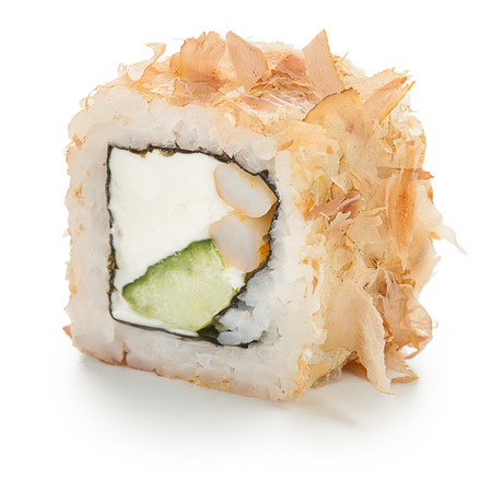 Japanese roll stuffed with cream cheese, cucumber, squid and tuna chips