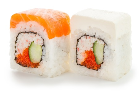 two japanese rolls stuffed with tobiko caviar, cucumber, crab meat, salmon and cream cheese