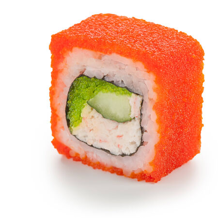 Red California maki japanese roll stuffed with crab meat, cream cheese, cucumber and tobiko caviar Stock Photo