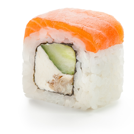 Japanese salmon roll stuffed with cucumber, cream cheese, smoked eel