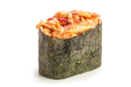 Spicy Kani Gunkan maki sushi stuffed with crab meat