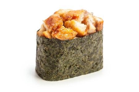 Spicy Unagi Gunkan maki sushi stuffed with smoked eel