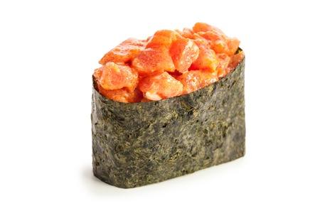 Spicy Maguro Gunkan maki sushi stuffed with tuna Stock Photo