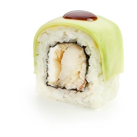 Japanese uramaki roll with avocado, omelet, cream cheese, unagi sauce  and smoked eel