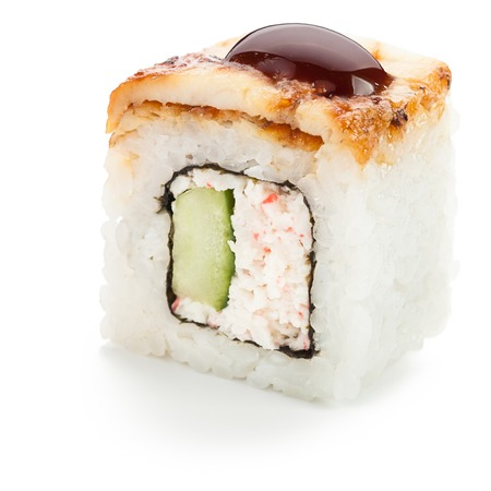 Japanese unagi uramaki roll with sliced smoked eel stuffed with crab meat and cucumber
