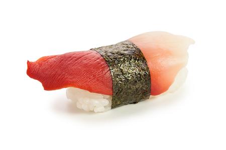 nigiri: single served hokkigai nigiri sushi made of spizula mollusk - isolated