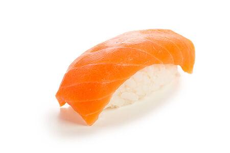 nigiri: single served syake nigiri sushi made of salmon - isolated