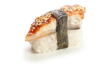 single served unagi nigiri sushi  made of smoked eel - isolated