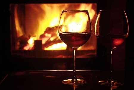 fireplace home: Wine and fire