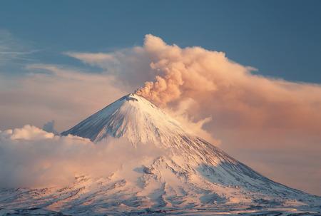 Evening volcanic eruption Фото со стока