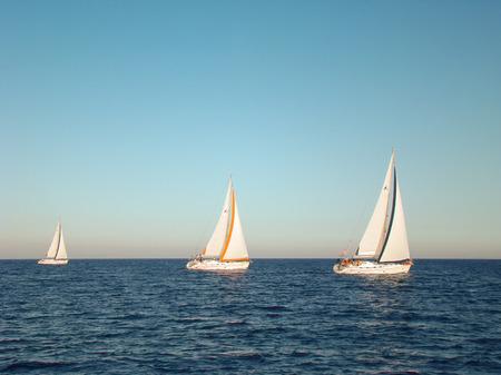 yacht race: Raza de yate en aguas abiertas en el mar Editorial