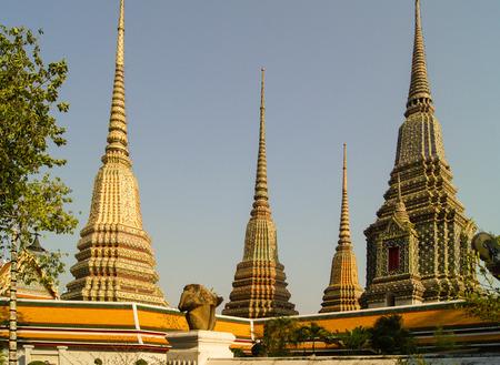 stupas: a row of four stupas on the hill Stock Photo