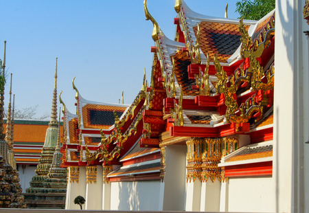 varied: Very beautiful and varied roof over temple