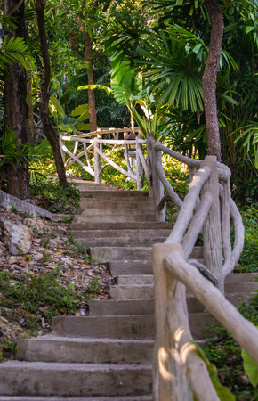 wooden railings: staircase with stone steps and wooden railings
