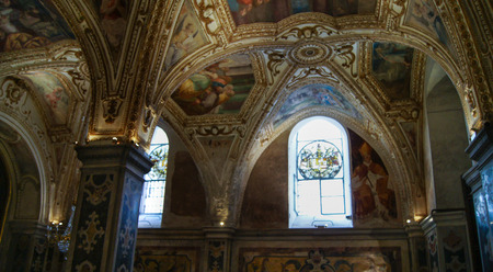 no body: columns with arched vaults and painted ceilings Editorial