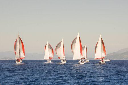 regatta: Regatta taking place in the Black Sea off the coast of Turkey Stock Photo