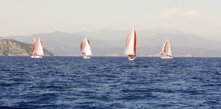 deportes nauticos: Regatta taking place in the Black Sea off the coast of Turkey Foto de archivo