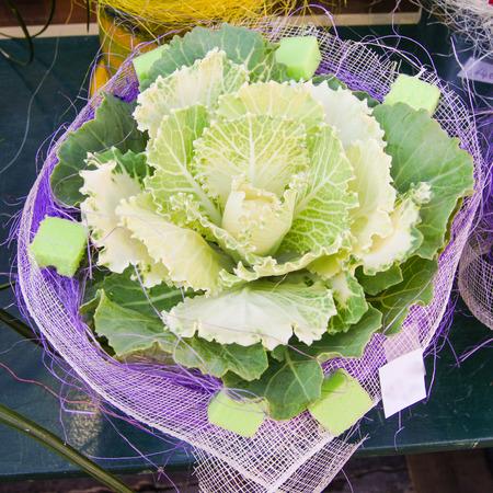 sidewalk sale: ornamental cabbage Stock Photo