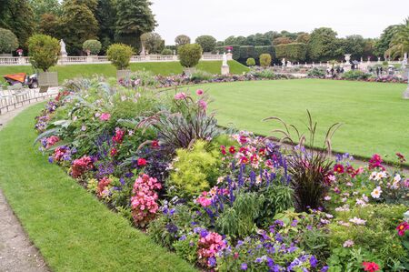flower beds: round flower beds Stock Photo
