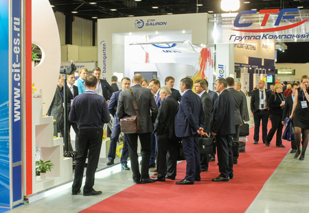 exhibitions: A large group of businessmen at the fair.