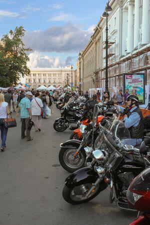 exhibition crowd: St. Petersburg, Russia - 7 August, 2015. Bike Show Harley Davidson in St. Petersburg. People visiting the motorcycle ..