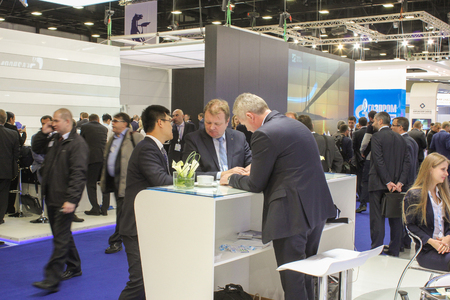 exhibition: A large number of business people at the Gas Forum. St. Petersburg, Russia - 6 October, 2015.Expo forum. International Gas Forum.