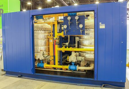 instrumentation: The container with the control and instrumentation. St. Petersburg, Russia - 6 October, 2015.Expo forum. International Gas Forum. Editorial