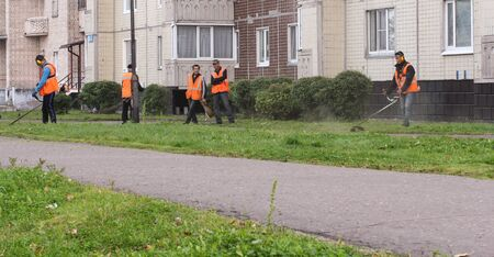 asphalting: Workers mowed grass. Leningrad region, Russia - 15 June, 2015. Landscaping and asphalting of yards.