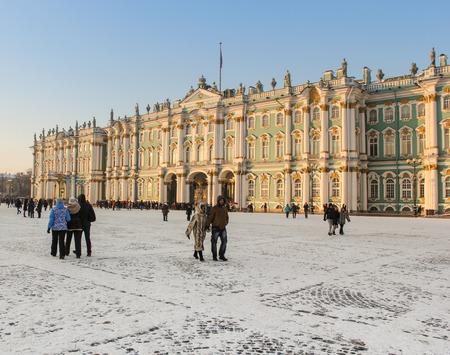 Le bâtiment de l'Hermitage. Saint-Pétersbourg, Russie - 6 Janvier 2016. lieux touristiques à Saint-Pétersbourg sur les vacances du Nouvel An.
