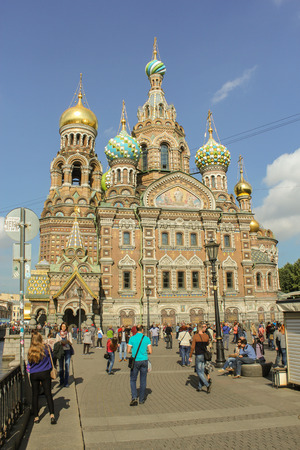 tourist spots: People at the Cathedral of Our Savior on Spilled Blood. St. Petersburg, Russia - 6 September, 2015. Excursion - tourist spots in St. Petersburg. Editorial