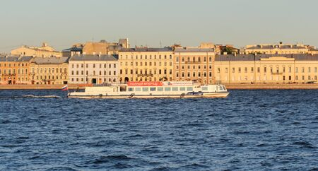 tourist spots: Pleasure boat on the Neva. St. Petersburg, Russia - 6 September, 2015. Excursion - tourist spots in St. Petersburg.