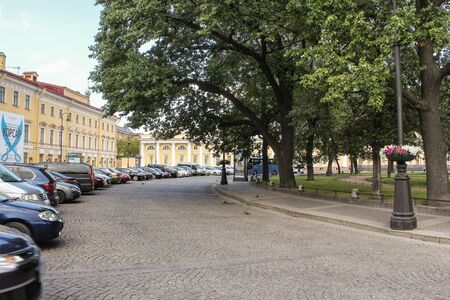 tourist spots: Parking on Arts Square. St. Petersburg, Russia - 6 September, 2015. Excursion - tourist spots in St. Petersburg.