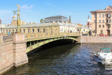 tourist spots: View Panteleimon Bridge. St. Petersburg, Russia - 6 September, 2015. Excursion - tourist spots in St. Petersburg.