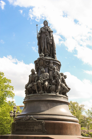 tourist spots: Sculpture of Catherine the Great. St. Petersburg, Russia - 6 September, 2015. Excursion - tourist spots in St. Petersburg.