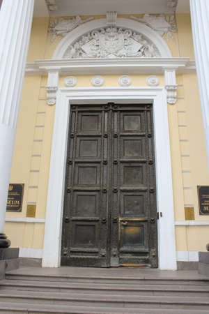tourist spots: The door to the building of the Ethnographic Museum. St. Petersburg, Russia - 6 September, 2015. Excursion - tourist spots in St. Petersburg.