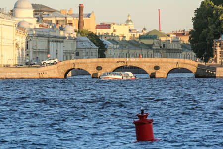 tourist spots: Out pleasure craft from the Fontanka to the Neva. St. Petersburg, Russia - 6 September, 2015. Excursion - tourist spots in St. Petersburg.
