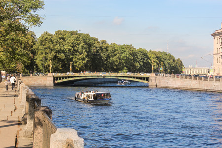 tourist spots: Fontanka River. St. Petersburg, Russia - 6 September, 2015. Excursion - tourist spots in St. Petersburg.