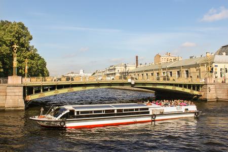 tourist spots: Panteleimon Bridge across the Fontanka. St. Petersburg, Russia - 6 September, 2015. Excursion - tourist spots in St. Petersburg. Editorial