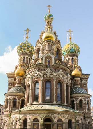 tourist spots: Cathedral of the Resurrection on the Blood. St. Petersburg, Russia - 6 September, 2015. Excursion - tourist spots in St. Petersburg.