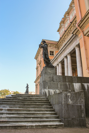 tourist spots: The main staircase of the Mikhailovsky Castle. St. Petersburg, Russia - 6 September, 2015. Excursion - tourist spots in St. Petersburg. Editorial