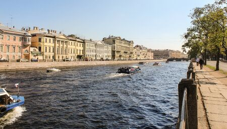 tourist spots: The tourist season on the Fontanka. St. Petersburg, Russia - 6 September, 2015. Excursion - tourist spots in St. Petersburg.