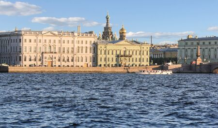 tourist spots: Palace Embankment. St. Petersburg, Russia - 6 September, 2015. Excursion - tourist spots in St. Petersburg.