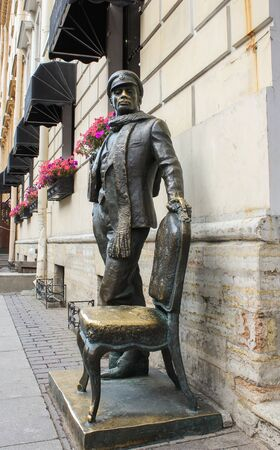 tourist spots: Monument to Ostap Bender on the Italian street. St. Petersburg, Russia - 6 September, 2015. Excursion - tourist spots in St. Petersburg.