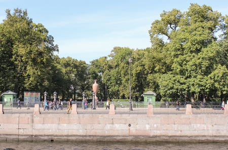 tourist spots: Summer garden on the Moika Embankment. St. Petersburg, Russia - 6 September, 2015. Excursion - tourist spots in St. Petersburg.