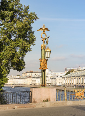tourist spots: Monument of artistic forging on the bridge. St. Petersburg, Russia - 6 September, 2015. Excursion - tourist spots in St. Petersburg. Editorial