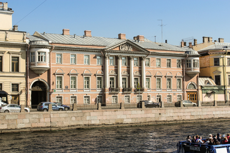 tourist spots: House of merchant Gromov on the Fontanka embankment. St. Petersburg, Russia - 6 September, 2015. Excursion - tourist spots in St. Petersburg. Stock Photo