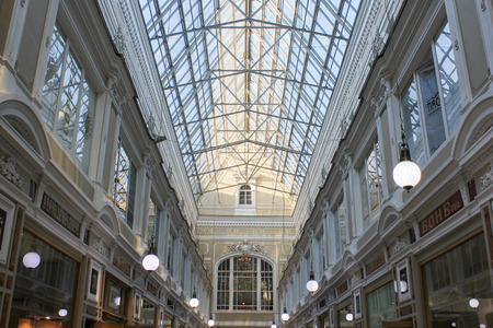 upper floor: The upper floor and the glass roof of the Passage.