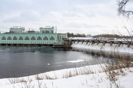 hydroelectric station: Volkhov hydroelectric power station in winter. Volkhov, Russia - 23 February, 2016. Tourist places in the great ancient route from the Vikings to the Greeks.Volkhov hydroelectric station. Editorial